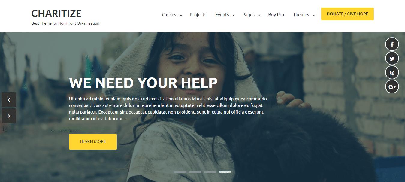 Non-Profit Organizations Theme charitize banner