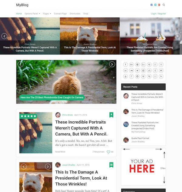 best premium blogging theme: MyBlog