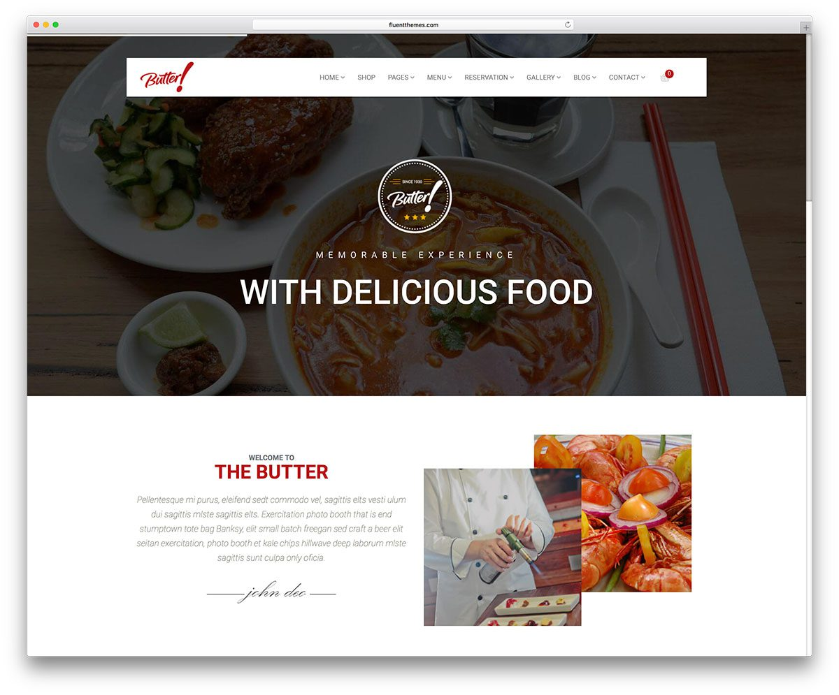 best premium wordpress restaurant themes: Butter