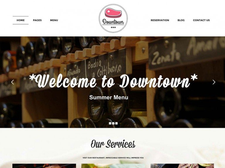 best premium wordpress restaurant themes: Downtown