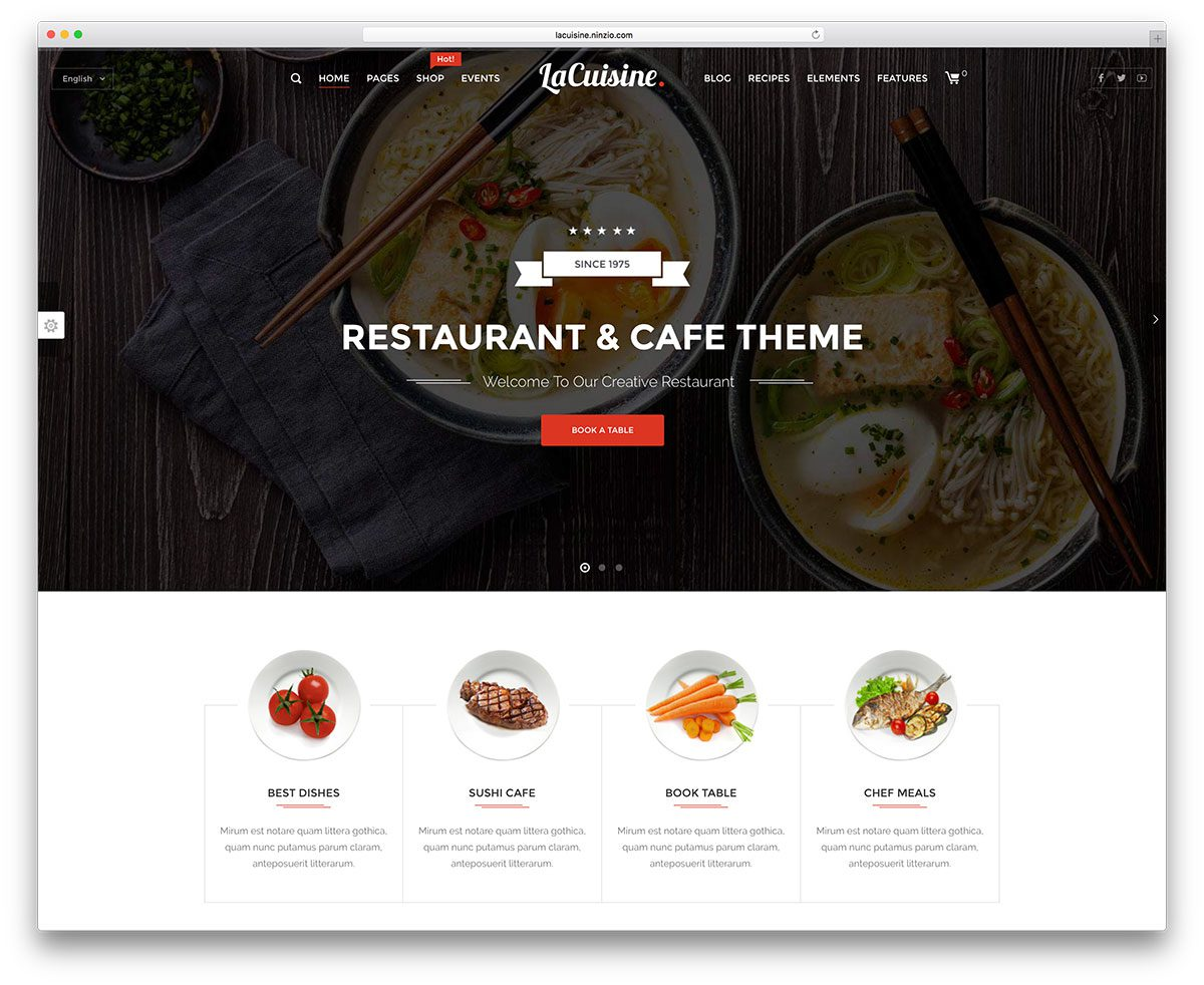 best premium wordpress restaurant themes: LaCuisine