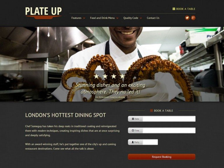 best premium wordpress restaurant themes: Plate Up