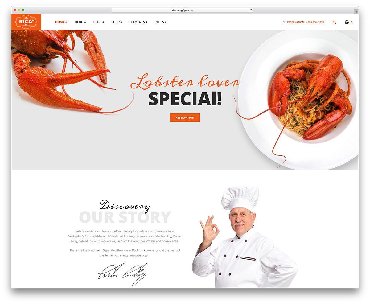 best premium wordpress restaurant themes: Rica Plus