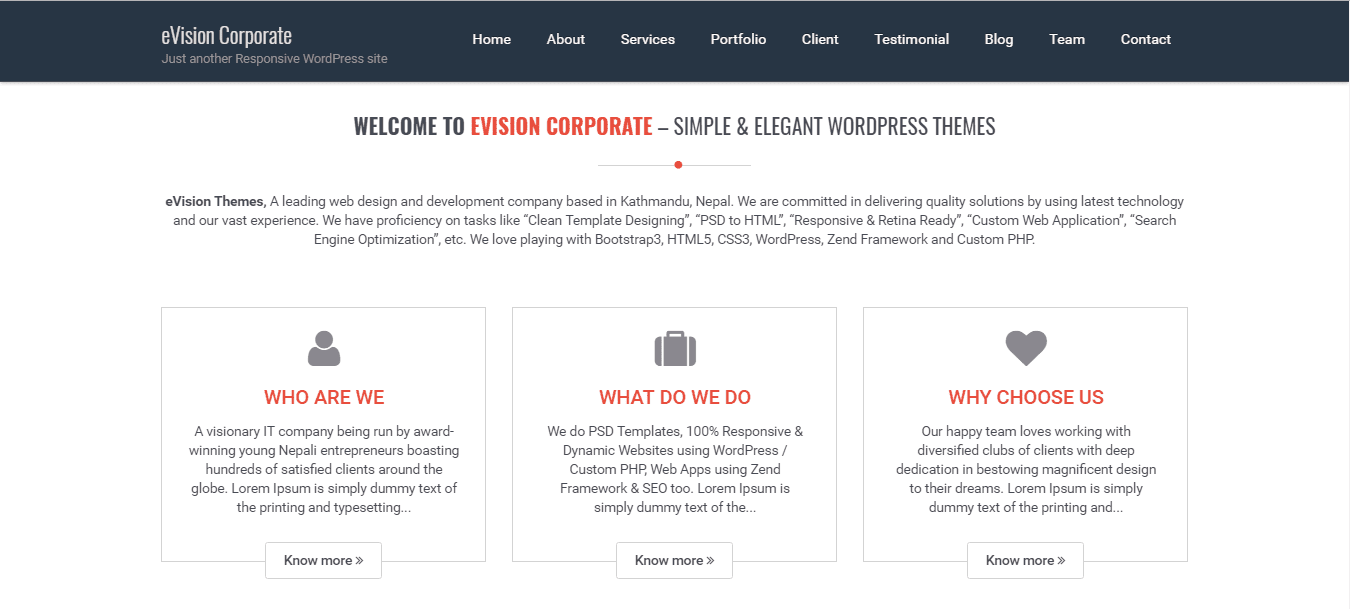 business wordpress theme eVision Corporate: about us