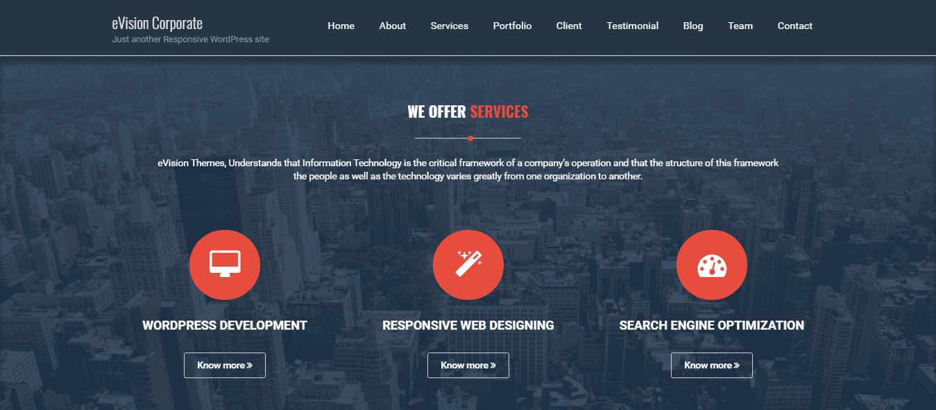 business wordpress theme eVision Corporate: services