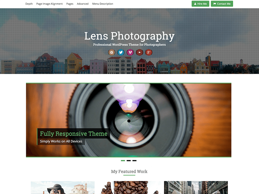 free photography theme for wordpress lens