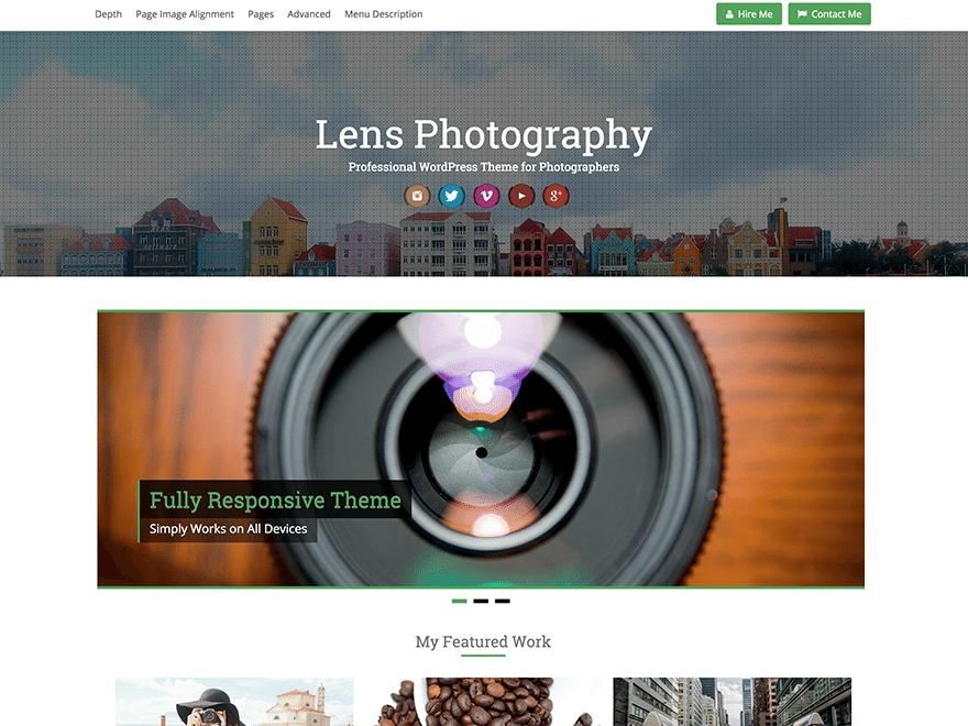 free photography theme for wordpress lens
