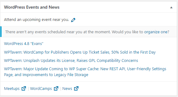 wordpress 4.8 events and news widget