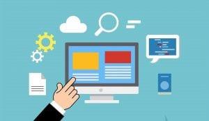 : Web designer customizing website
