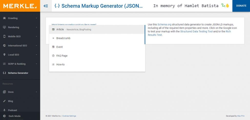 Merkels schema markup generator